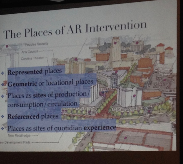 "Slide from Victoria Szabo, Duke University, presentation: ""Augmented Reality in Digital Cultural Heritage."""